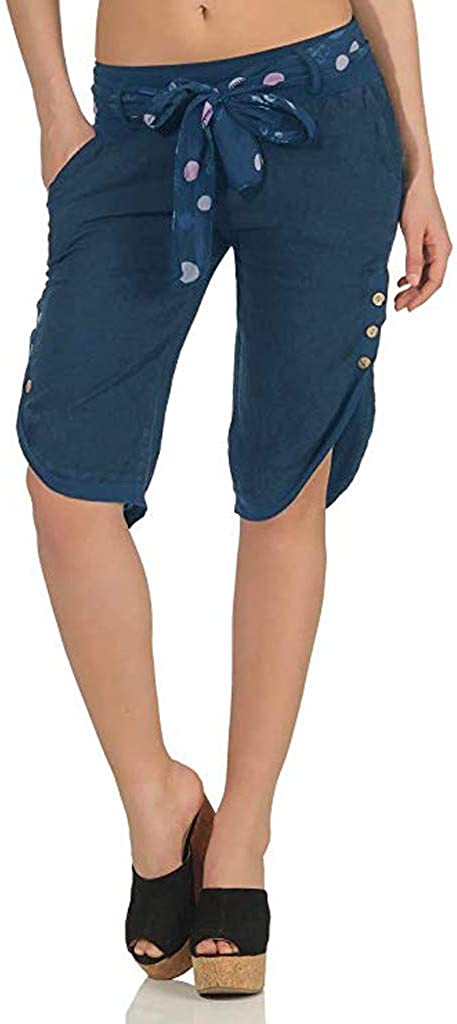 Risthy Tallas Grandes Algodon Verano 3 4 Tres Cuartos Largo Pantalones De Yoga Para Mujer Sueltos Pantalonbes Cortos De Deporte Casual Estilo Oficina Cintura De Cordon Pantalones Deportivos Ropa