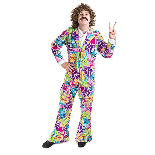 Charm Rainbow Men's 70's Costume Hippie Suit with Stretchy Bell Bottom Pants(M) -