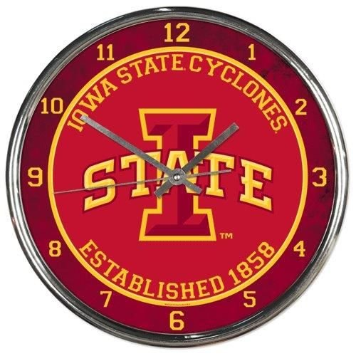 OKSLO Iowa State Cyclones Round Chrome Wall - Cyclones Wall Iowa Clock State