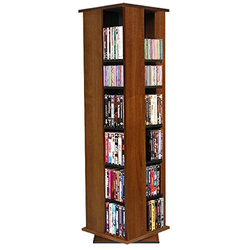 Dvd Cd Media Storage Tower - Venture Horizon Revolving Media Tower 600 Walnut