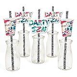 Darty SZN - Paper Straw Decor - Day Drinking Party Season Striped Decorative Straws - Set of 24