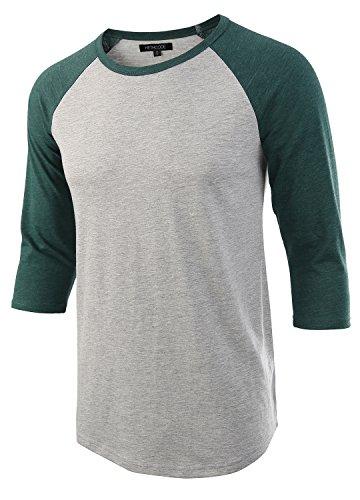 HETHCODE Men's Casual Raglan Fit Soft Baseball 3/4 Sleeve Jersey T-Shirts Tee H.Gray/Green XXL