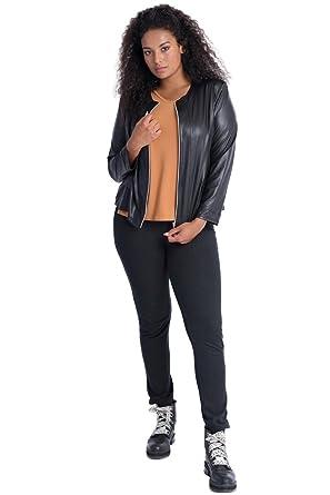 b937b56a21 Plus Size Black Zip-Up Faux Leather Jacket at Amazon Women s Coats Shop