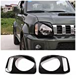 Niceautoitem Black Headlights Cover Head Lamps Ring Lights Headlamps Bezel ABS for SUZUKI Jimny 2008 UP