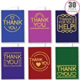 30 Bold Gold Effect Folded Thank You Cards Multipack with Envelopes - by Ruby Ashley