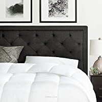 BROOKSIDE Upholstered Headboard with Diamond Tufting - King / California King - Charcoal