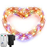 Fairy Lights, DecorNova Copper Wire 120 LED 39.4 Feet Starry String Lights with 3V Adapter and Remote for Holiday Christmas Party Bedroom Wedding Decorations, Multi-Color