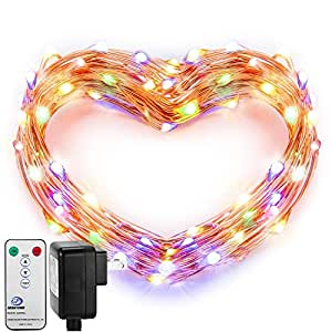 Fairy Lights, DecorNova 120 LED 39.4 Feet Copper Wire Firefly String Lights with 3V Adapter and Remote for Holiday Parties Bedroom Wedding Christmas Decorations, Multi-Color