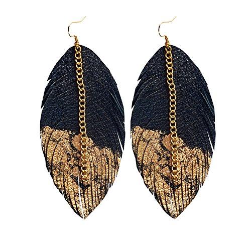 Leather Feather Earrings - Leather Earrings for Women Gold Black Leather Feather Earrings for Women, Earringsarts