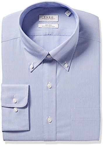 Enro Men's Classic Fit Wilkensen Stripe Dress Shirt, Blue 18