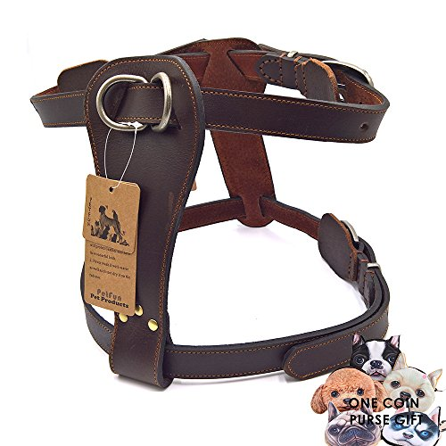 PetFun Brown Exclusive Genuine Leather Adjustable Halti Harness for Dog Attack Protection Training and Daily - Exclusive Brands Online Shopping