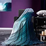 smallbeefly Ocean Decor Digital Printing Blanket Tropical Surfing Wave on a Windy Sea Indonesia Sumatra Summer Quilt Comforter
