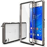 Xperia Z3 Case, Ringke [Fusion] Crystal Clear PC Back TPU Bumper w/ Screen Protector [Drop Protection/Shock Absorption Technology][Attached Dust Cap] For Sony Xperia Z3 - Smoke Black