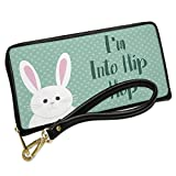 Wallet Clutch I'm Into Hip Hop Cute Easter Bunny with Polka-dots with Removable Wristlet Strap Neonblond