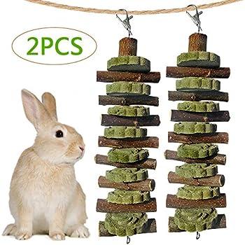 Hamsters Organic Apple Wood Sticks Rabbits Improves Dental Health Leeko Bunny Chew Toys for Teeth Cats Pet Snacks Toys with Grass Cake for Rabbits Gerbils Birds