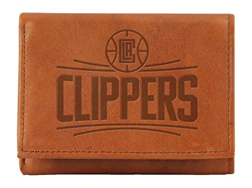 NBA Los Angeles Clippers Embossed Leather Trifold Wallet, 4.25'' x 3'', Tan by Rico