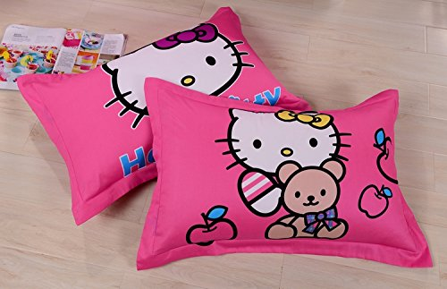 Lt Twin Full Queen Size 4-pieces Four Hello Kitty Toddler Sisters Pink Bear Prints Fitted Sheet Sets (With Rubber Around )Duvet Cover Set/bed Linens/bed Sheet Sets/bedclothes/bedding Sets/bed Sets/bed Covers/5-pieces Comforter Sets/bed in a Bag (4pcs without comforter, Queen)