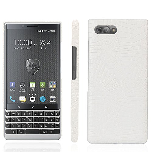 Zshion BlackBerry KEY2 Case,Croco Premium PU Leather Protective Cases Simple Deurable and Lightweight Case for BlackBerry KeyTwo/Key2 (White)
