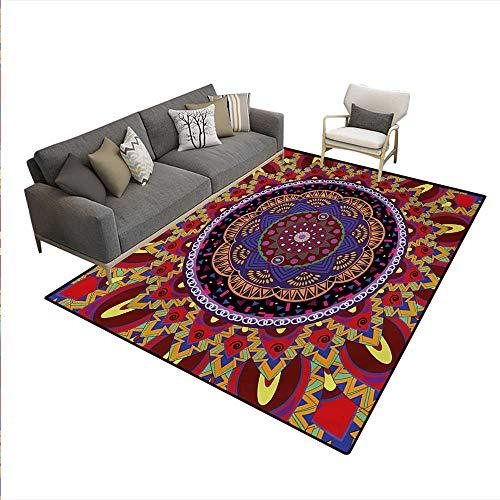 Carpet,Vintage Style Wedding Invitation Card Mandala Motif Flower Illustration,Non Slip Rug Pad,Maroon Red,6'x9' -