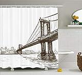 Ambesonne New York Shower Curtain, Digital Drawn Brooklyn Bridge Unusual Graffiti Style Old Urban Cityscape Print, Cloth Fabric Bathroom Decor Set with Hooks, 75' Long, Brown White