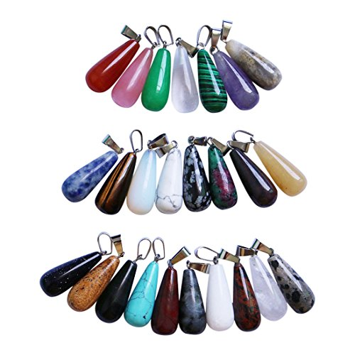 Wholesale Beading Supplies (Wholesale Natural Stone Water Drop Shape Purple Crastal Pendants fit Necklaces Jewelry Making)