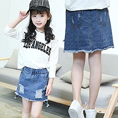 MV Girls Spring Hole Denim Summer Bag Hip Skirt Kids Clothing