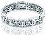 Men's Sterling Silver .925 Bracelet with 276 Channel set Fancy Princess Cubic Zirconia (CZ) Stones, Box Lock, Platinum Plated. Sizes available 8''9''