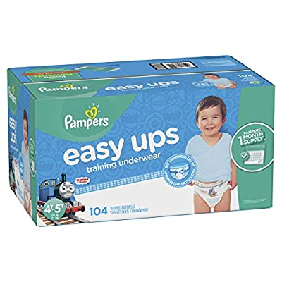 Pampers Easy Ups Training Pants Pull On Disposable Diapers for Boys Size 4 (2T-3T), 164 Count, ONE MONTH SUPPLY from Pampers