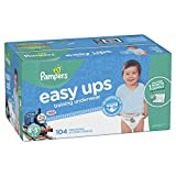 #2: Pampers Easy Ups Training Pants Pull On Disposable Diapers for Boys, Size 6 (4T-5T), 104 Count, ONE MONTH SUPPLY