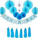 Baby Shower Decorations for Boy - It's A Boy Banner Hanging Party Supplies, Photo Booth Props, Honeycomb Paper Balls, Blue Tassels, Tissue Paper, Indoor/Outdoor