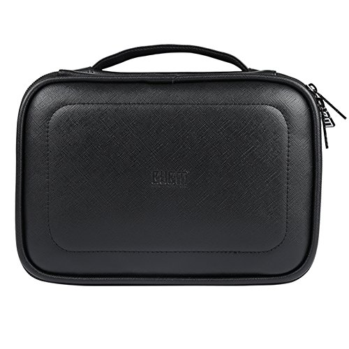 BUBM Electronic Organizer,PU Double Layer Travel Gear Bag for Cables,Earphone,Flash Hard Drive,Power Bank and More --a Sleeve Pouch for iPad (Large,Black)