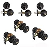 Dynasty Hardware CP-SIE-12P, Sierra Entry Door Knob Lockset and Single Cylinder Deadbolt Combination Set, Aged Oil Rubbed Bronze (3 Pack) Keyed Alike