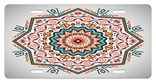 Ambesonne Tribal License Plate, Abstract Aztec Style Kaleidoscope Themed Boho Ethnic Sun Pattern Art Print, High Gloss Aluminum Novelty Plate, 5.88 L X 11.88 W Inches, Coral Turquoise ()