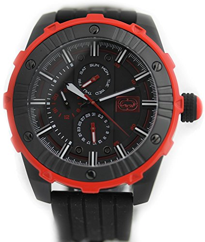 Marc Ecko Mens The Sillo Multifunction Black & Red IP Stainless Steel Case Rubber Watch E11551G3