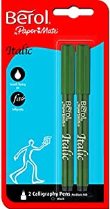 Berol S0673000 - Bolígrafos para caligrafía (cursiva, punta de dureza media, tinta negra, 2 unidades)