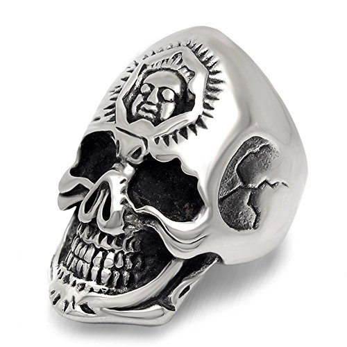LILILEO Jewelry Stainless Steel Exaggerated 2 Face Skull Head Polished Ring For Men's (Mens Two Face Costume Uk)