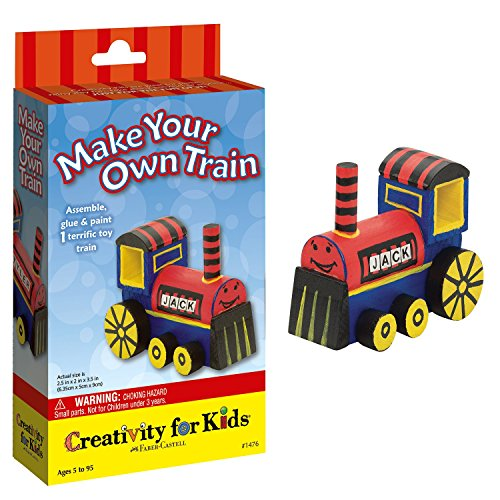 Creativity for Kids Make Your Own Train Mini Craft Kit - Decorate and Build 1 Wooden Train ()