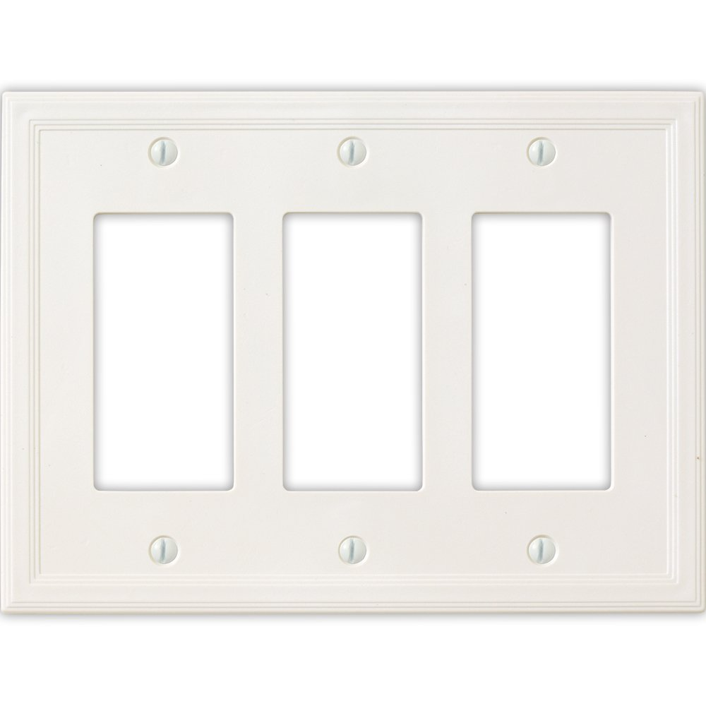Questech Cornice Insulated Decorative Switch Plate/Wall Plate Cover - Made in the USA (Triple Decorator, White)