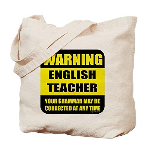 CafePress profesor de Inglés–Señal de alerta–Gamuza de bolsa de lona bolsa, bolsa de la compra Small caqui