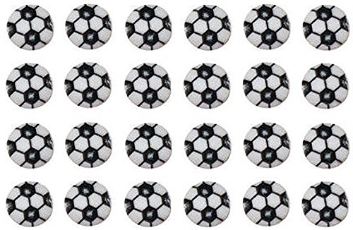 Fancy & Decorative {11mm w/ 2mm Back Hole} 24 Pack (Soccer Ball Button)
