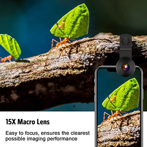 [Upgraded] AMIR For iPhone Camera Lens, 0.4X Super Wide Angle Lens + 195° Fisheye Lens & 15X Macro Lens, 3 IN 1 Cell Phone Camera Lens For iPhone X, iPhone 8/7 Plus, Samsung, Other Smartphones by AMIR (Image #3)