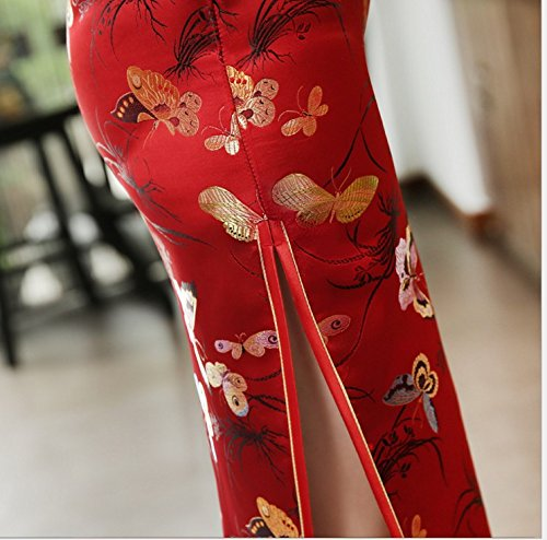 ACVIP Women's Butterfly Brocade Short Chinese Traditional Cheongsam Long Dress (US 4/Chinese L, Red) by ACVIP (Image #5)