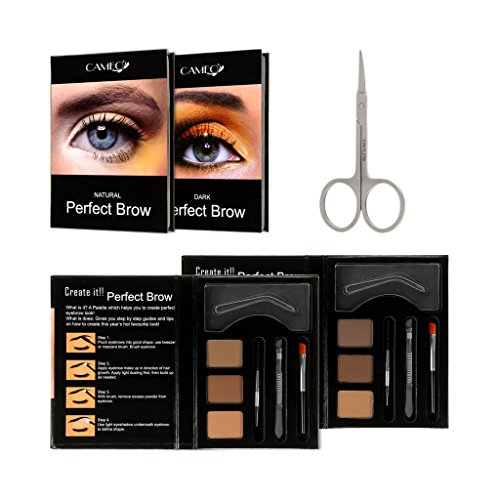 Perfect Brow Eyebrow Makeup Kit 2 Pack – Premium Dark Brown and Natural Eyebrow Color With FREE Eyebrow Grooming Scissors – Ideal Eyebrow Hair Trimmer