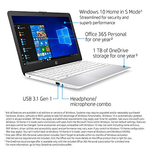 HP Stream 11-Inch Laptop, Intel X5-E8000 Processor, 4 GB RAM, 32 GB eMMC, Windows 10 Home in S Mode with Office 365 Personal and 1 TB Onedrive Storage for One Year (11-ak1020nr, Diamond White)