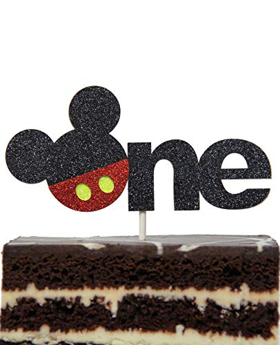 Mickey Mouse Inspired One Year Cake Topper Boys Smash Cake First Birthday Topper