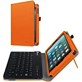 Fintie Folio Keyboard Case for All-New Amazon Fire 7 (7th Generation, 2017 Release), Slim Fit PU Leather Stand Cover with All-ABS Hard Material Removable Wireless Bluetooth Keyboard, Orange