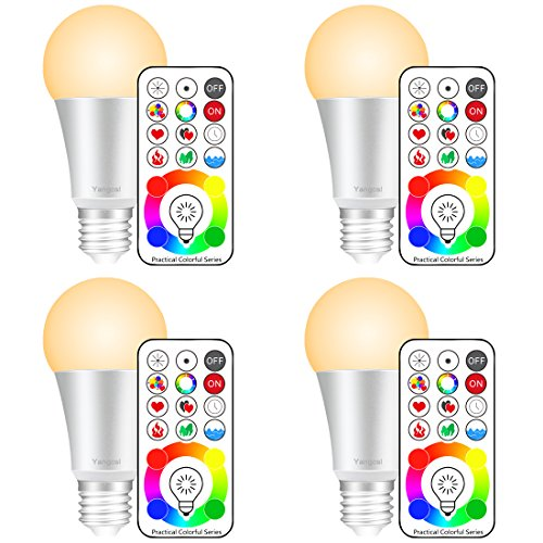 Yangcsl E26 Dimmable Color Changing LED Light Bulbs with Remote Control, Memory & sync, Warm White & RGB Multi Color, 60 Watt Equivalent (4 Pack)