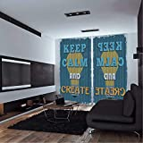 kidsroom design ideas  Keep Calm,Window Curtain,Vintage Motivational Words Be Creative Poster Design Coming up with New Ideas,KidsRoom Curtains,W108xH90 inches