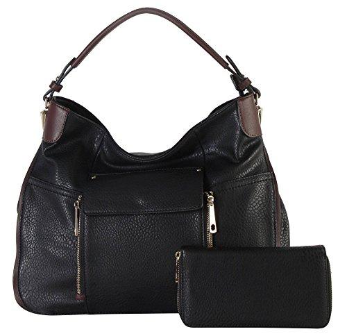 Rimen & Co. PU Leather Front Flap Pocket Large Hobo with Wallet 2 Pieces Set Womens Purse Handbag HS-3635