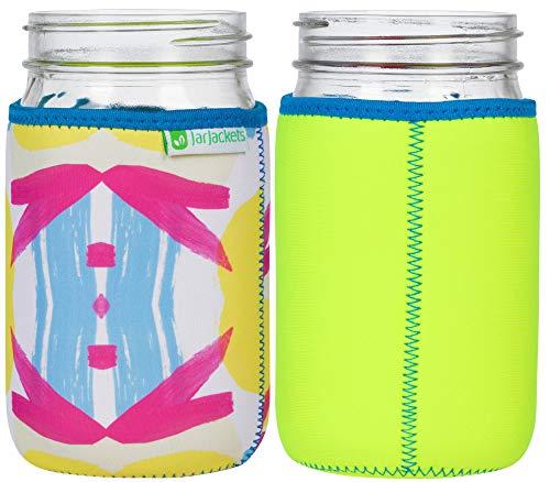 JarJackets Neoprene Mason Jar Protector Sleeve - Fits 32oz (1 quart) Jars (1, Neon Yellow)